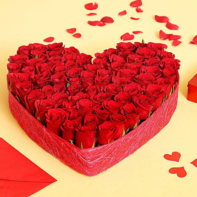 Lovely Heart Shaped Roses Arrangement