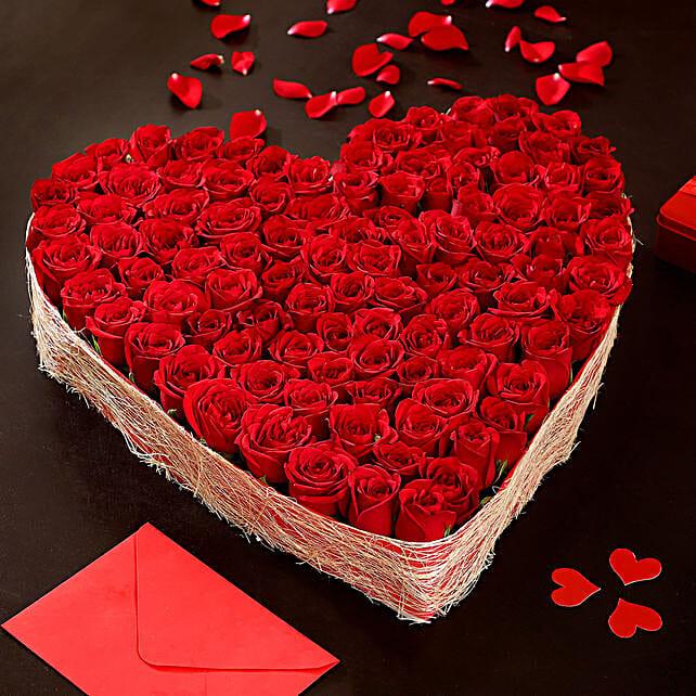 Online Heart Shaped Red Roses Arrangement