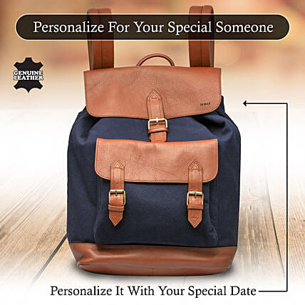 Cool Blue and Navy Backpack Online:Personalised Leather Gifts