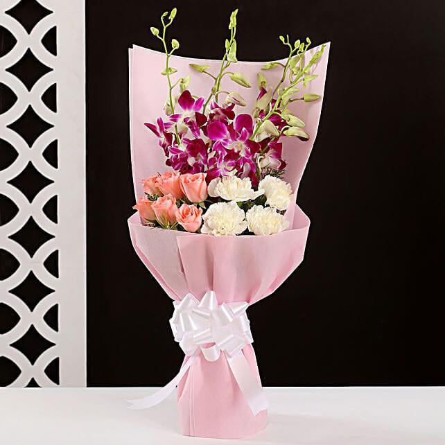 Elegant Purple & Pink Flower Bouquet