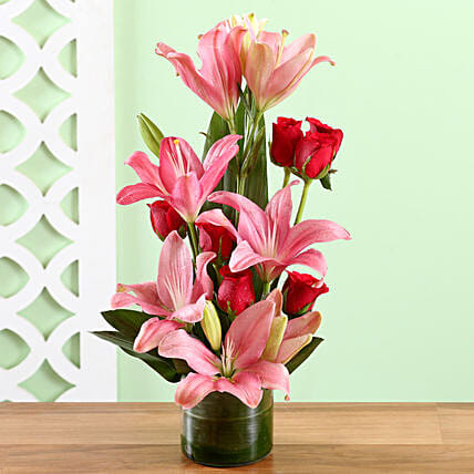Pink Lilies & Red Roses Love