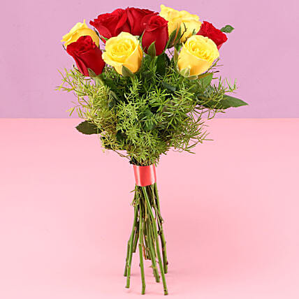 Happy Mixed Roses without Vase