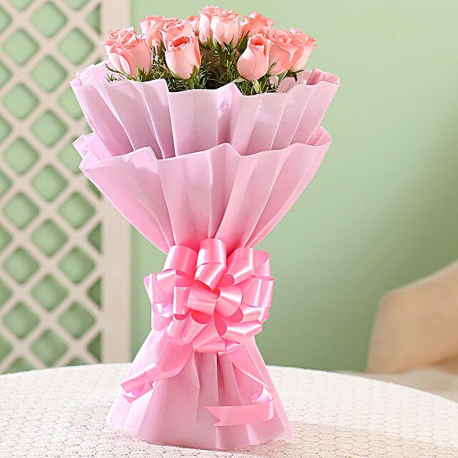 Splendid 15 Pink Roses Bouquet