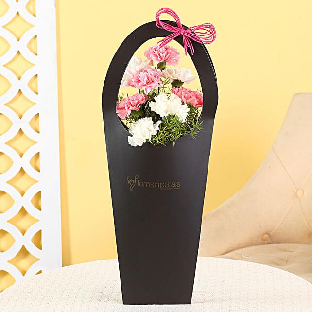 Pink White Carnations Sleeve Bag