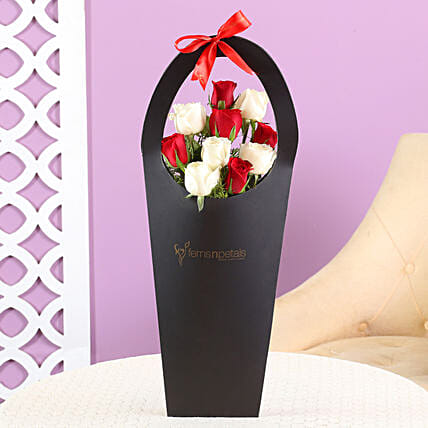 Red White Roses In Sleeve Bag