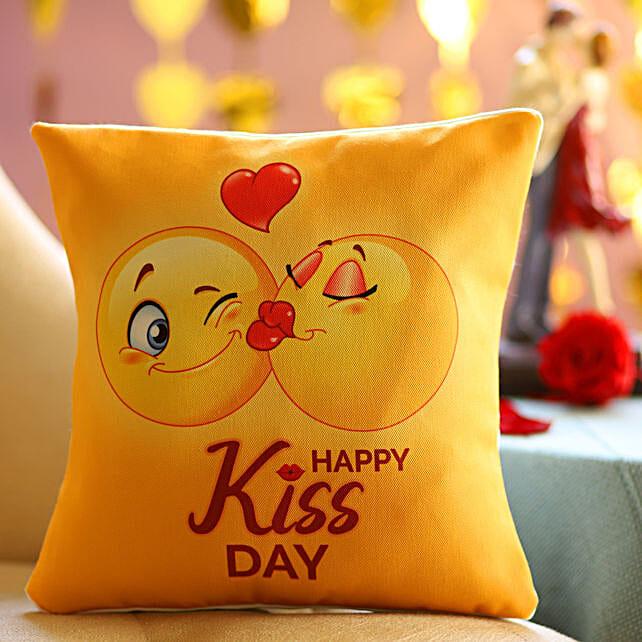 Happy Kiss Day Printed Emoji Cushion