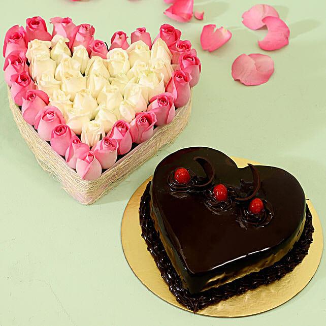 Heart Of Roses & Truffle Cake Half Kg