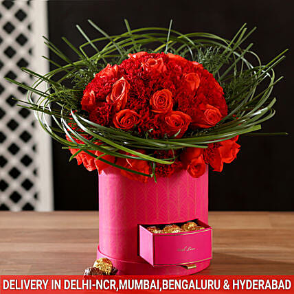 Love In The Air Red Roses Arrangement