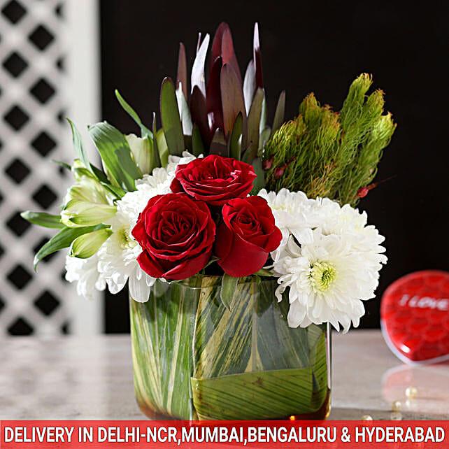 Roses Chrysanthemums Glass Vase Arrangement
