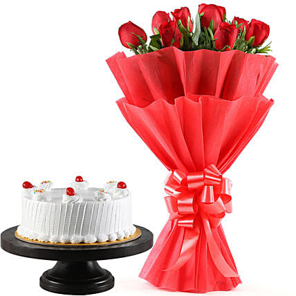 Red Roses Bunch & Pineapple Cake