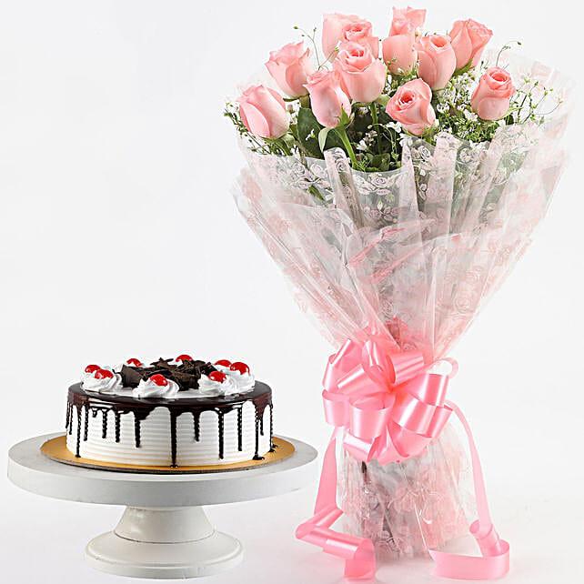 Splendid Pink Roses & Black Forest Cake
