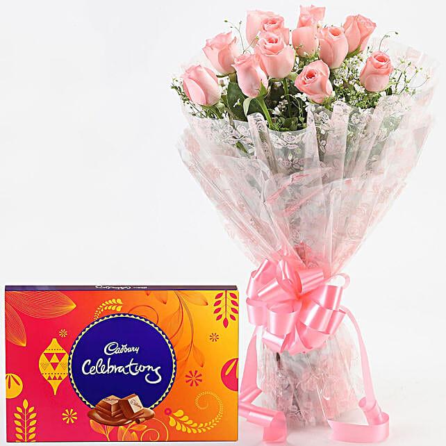 Splendid Pink Roses & Chocolates