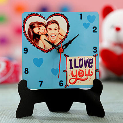photo with message table clock for valentines day