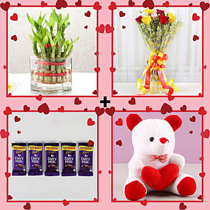 Lucky Bamboo & Roses Love Combo