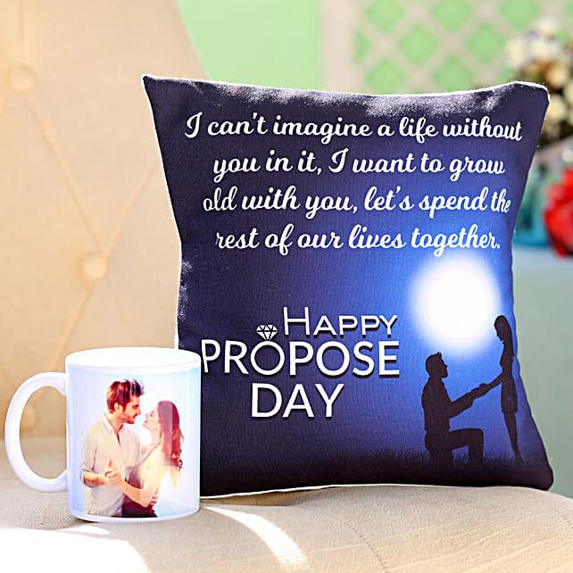 Personalised Mug Propose Day Cushion