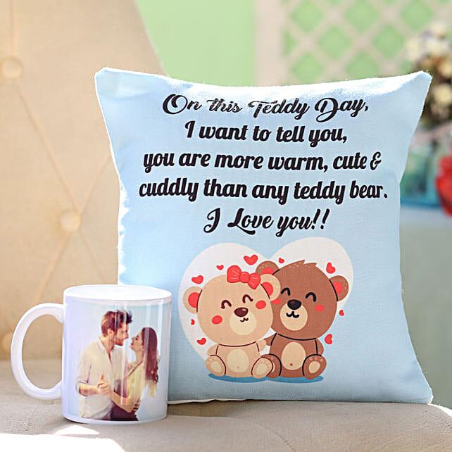 Personalised Mug Teddy Day Cushion