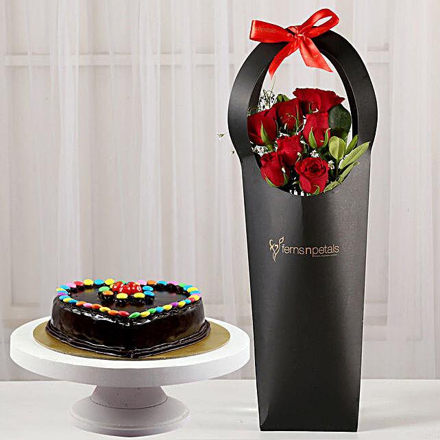 Ravishing Red Roses in Black Sleeve Cake