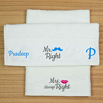 Mr & Mrs Right Personalised Hand Towel Set