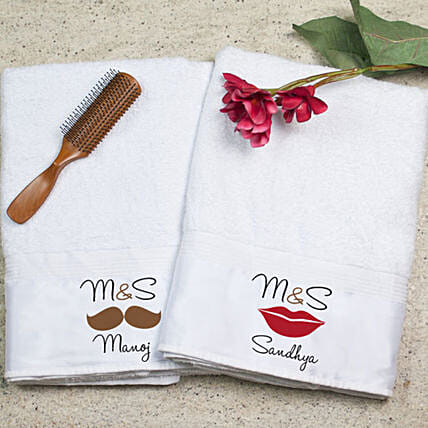 Personalised Bath Towel Set For Couple