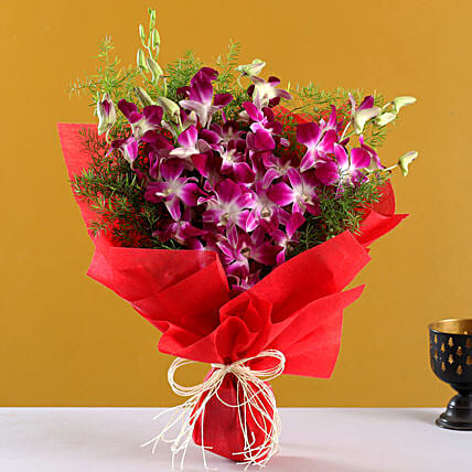 Perfect N Elegance - Bunch of 6 Purple orchids.