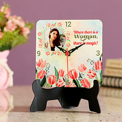 Online printed table clock for womens day
