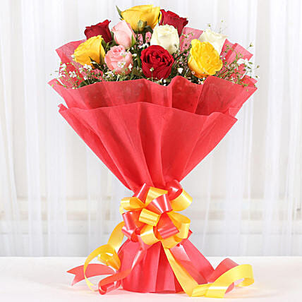 Mixed Roses Romantic Bunch:Send Good Luck Flowers