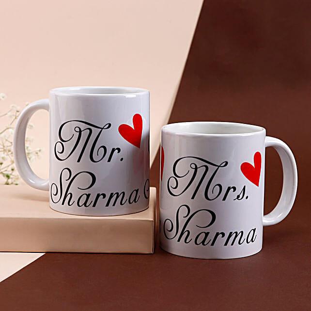 Mr & Mrs Personalised White Mug Set