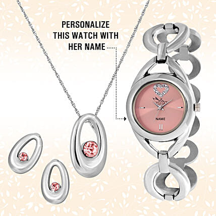Personalised Pink Watch & Pendant Set