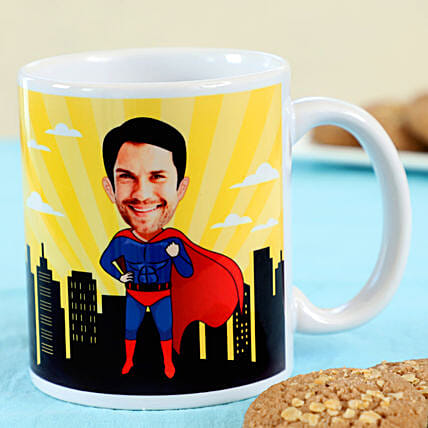 funny caricature printed mug for him online:Personalised Mugs for Fathers Day