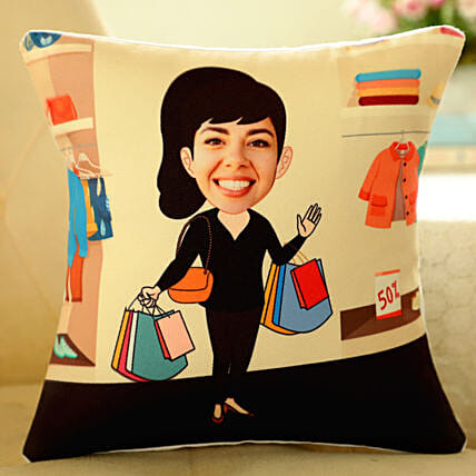 Caricature Printed Cushion For Her