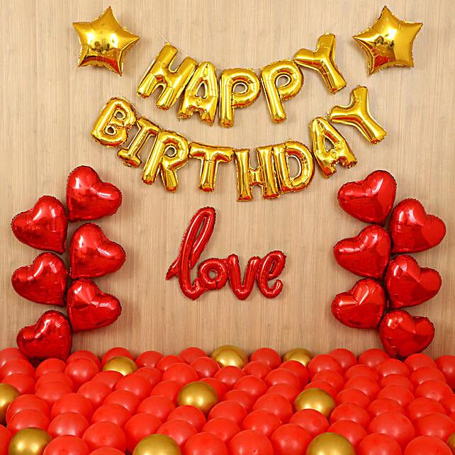 Golden Themed Birthday Balloon Decor