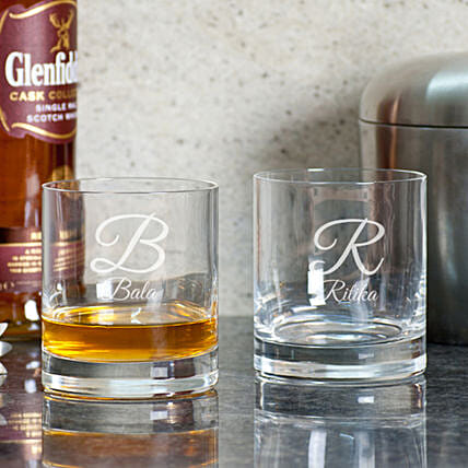 Name Initial Printed Whiskey Glasses:Romantic Personalised Gifts