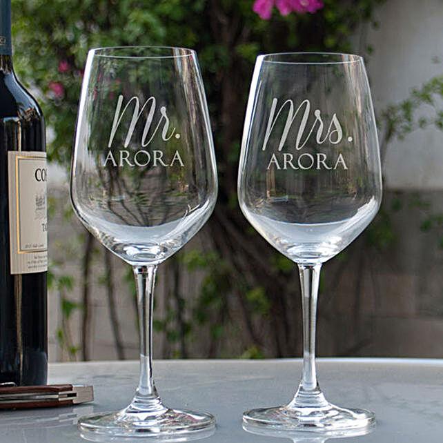 Mr & Mrs Printed Wine Glasses Online:Send Personalised Wine Glasses