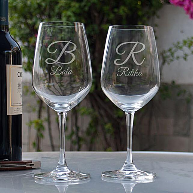 Customised Couple Wine Glasses:Buy Personalized Wine Glasses
