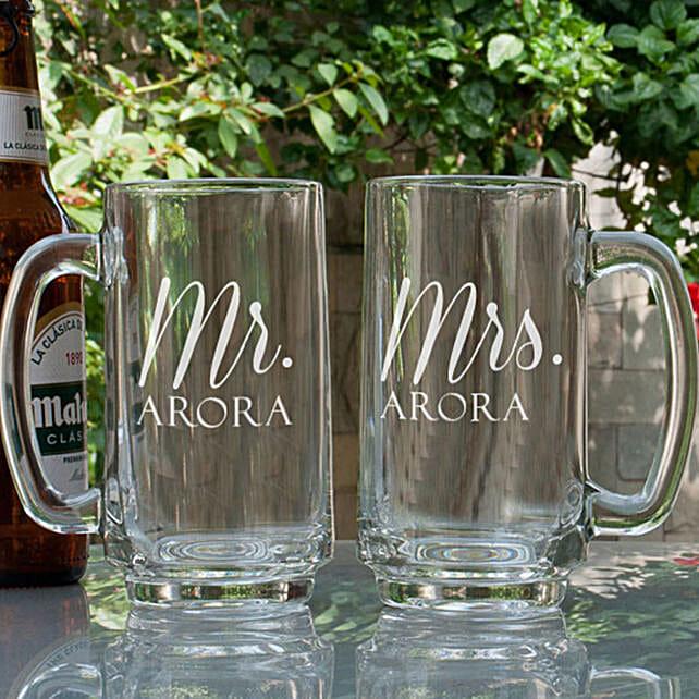 Mr & Mrs Printed Beer Mugs Online