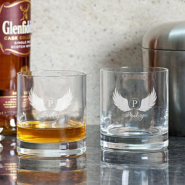 Wings Printed Whiskey Glasses Online