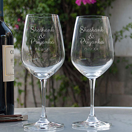 Online Couple Personalised Wine Glasses