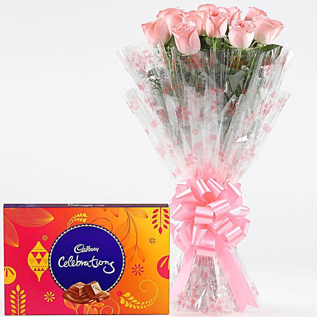 Pink Roses With Cadbury Celebrations