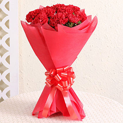 Attractive 12 Red Carnations Bouquet