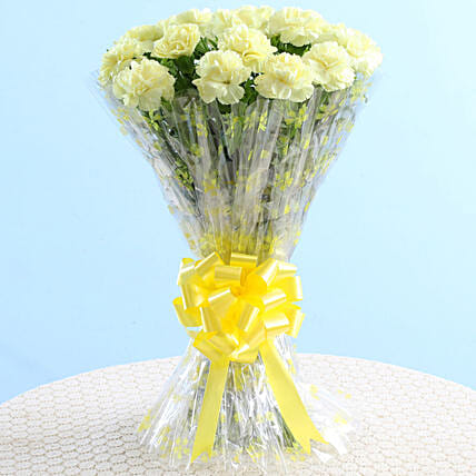 Bright 24 Yellow Carnations Bouquet