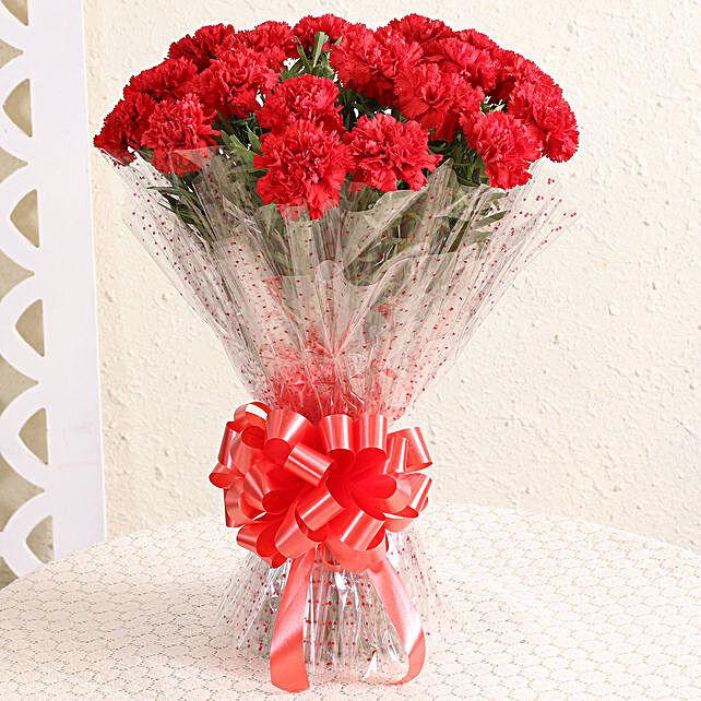 Bunch Of Ravishing 18 Red Carnations
