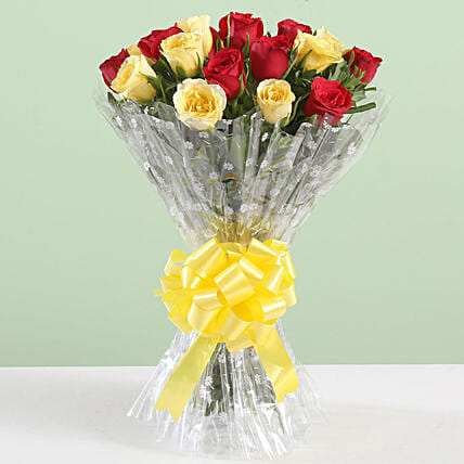 Dreamy Bouquet Of 18 Red Yellow Roses
