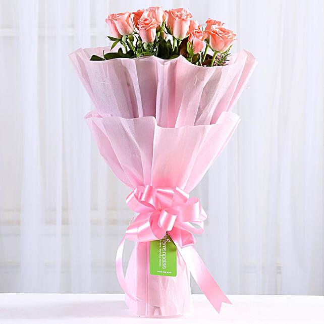 Elegant Bunch Of 8 Pink Roses