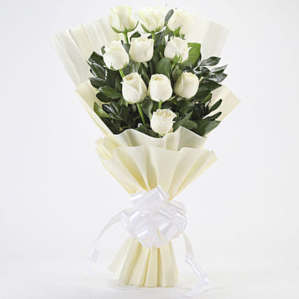 Exotic 10 Pure White Roses Bouquet