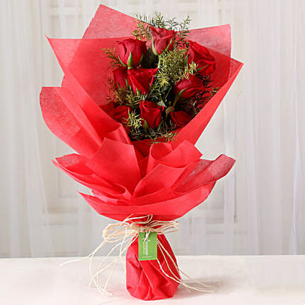Exotic Bouquet Of 10 Red Roses
