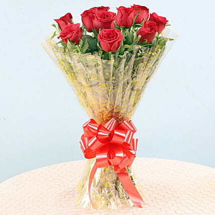 Exotic Bunch of 10 Red Roses