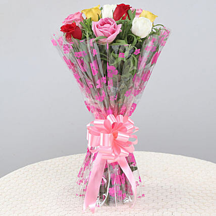 Gorgeous Bunch Of 10 Mixed Roses