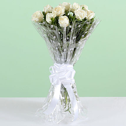 Graceful 18 White Roses Bouquet