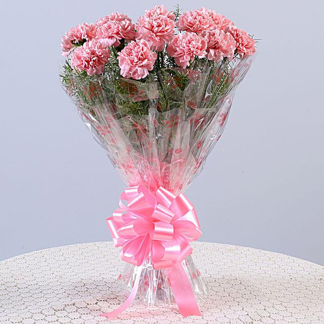 Ravishing 12 Light Pink Carnations Bouquet
