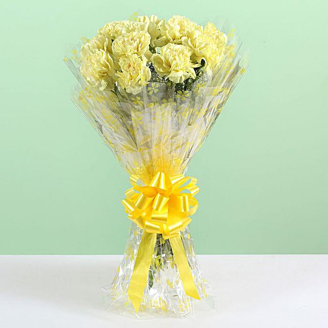 Sunshine 12 Yellow Carnations Bouquet